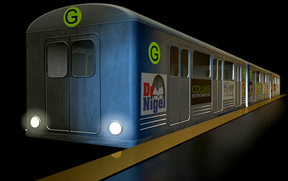 Subway car and train modelled and animated in 3D by Graham Collins